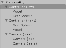 The Object Hierarchy of our CameraRig