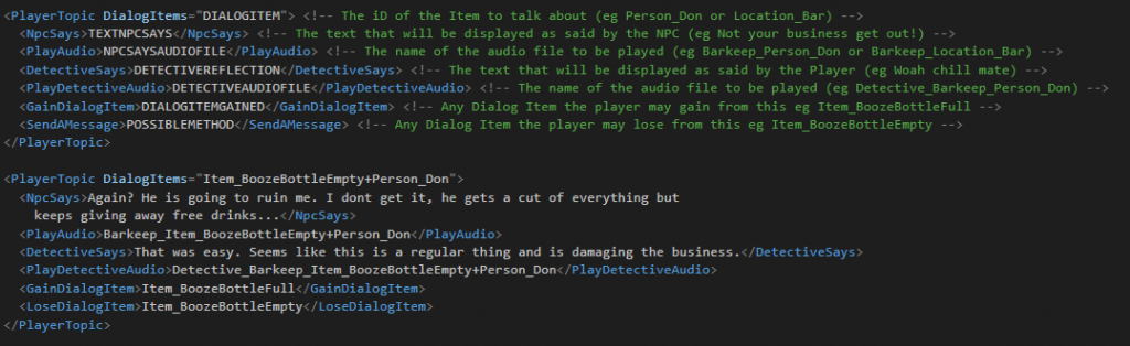 Template and Example of a PlayerTopic (aka DialogItem aka InventoryItem)